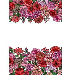 garden flowers seamless border vector image