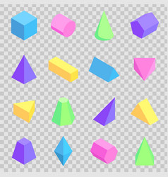 geometric 3d prisms collection colorful figures vector image