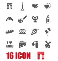 Grey paris icon set vector