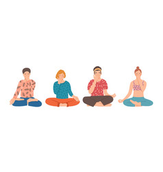 Group people sitting cross-legged on floor and vector