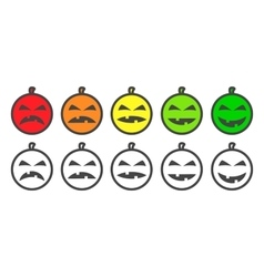 Halloween Pumpkin color Emoji icons vector image