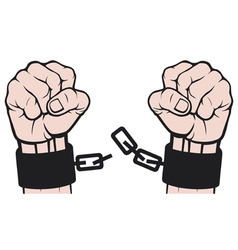 Hand broken chains vector