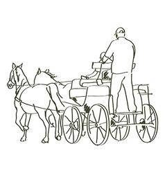 Hand drawn horses vector