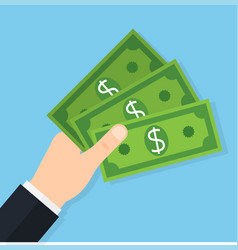 Hand holding money banknotes vector