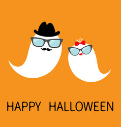 Happy halloween ghost spirit family set with lips vector