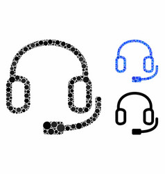 Headset mosaic icon round dots vector