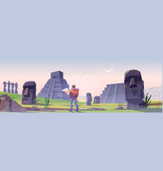 Hiker on easter island with mayan pyramids vector