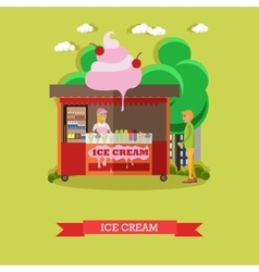 Ice cream stall salesgirl and vector