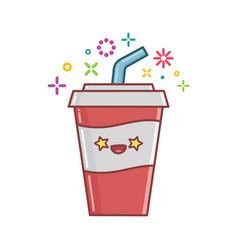 Kawaii soft drink cola icon cartoon vector
