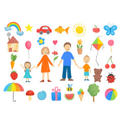 kids drawings how to draw little children pencil vector image