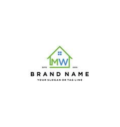 Letter mw home logo design vector