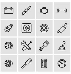 line car parts icon set vector image