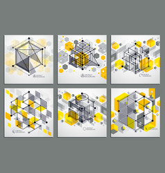 Lines and shapes abstract isometric 3d yellow vector