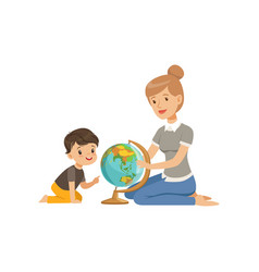 Little boy studying geography with his teacher vector