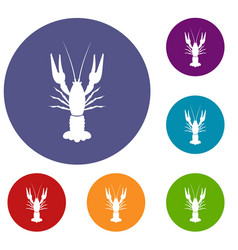 lobster icons set vector image