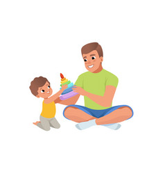 loving father and his son playing with humming top vector image