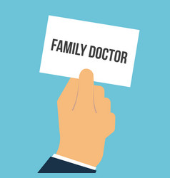 man showing paper family doctor text vector image