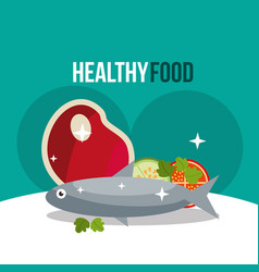 meat and fish salad healthy food vector image