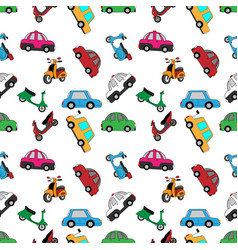 motorcycle-and-car-pattern vector image