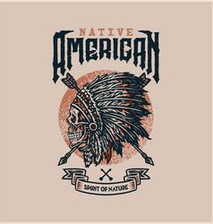 Native american t shirt graphic design vector
