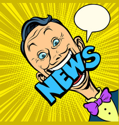 news pop art man journalist vector image