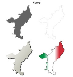 Nuoro blank detailed outline map set vector
