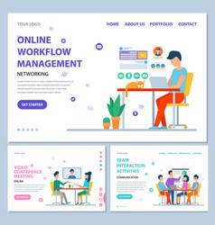 Online workflow management website online info vector