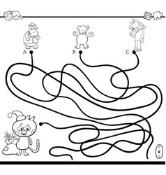 path maze game coloring page vector image