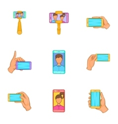 Photo on mobile phone icons set cartoon style vector