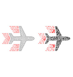polygonal network mesh aircraft and mosaic icon vector image