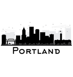 Portland city skyline black and white silhouette vector