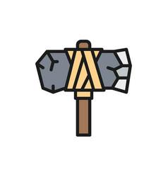 Primitive axe prehistoric ax flat color vector