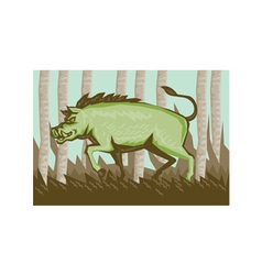 Razorback Wild Pig Boar Attacking vector image