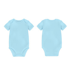 realistic blue blank baby bodysuit template vector image