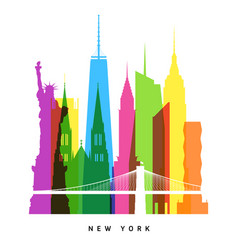 Rnew york landmarks bright collage vector