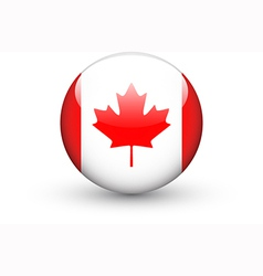 Round icon with national flag of Canada vector image