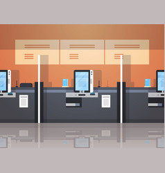 Row self service machines payment terminal windows vector