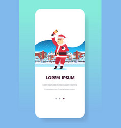 santa claus holding bell merry christmas happy new vector image
