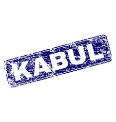 Scratched kabul framed rounded rectangle stamp vector