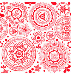 Seamless monochrome red pattern with circles and vector