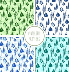 Seamless winter trees pattern set vector image