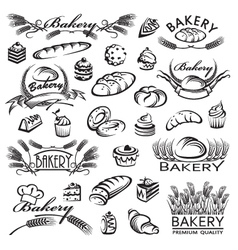 set of bread and bakery products vector image