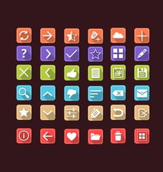 Set of flat icons for mobile app and web vector image