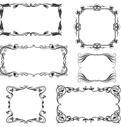 set of the decorative frames in the art nouveau vector image