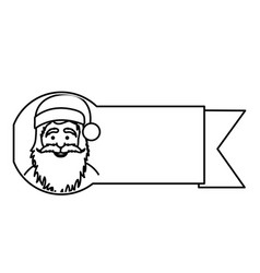 silhouette ribbon with face cartoon santa claus vector image