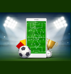 Soccer field on smartphone screen vector