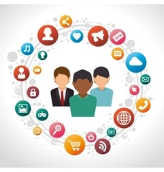 social media men isolated icon design vector image