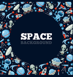space cartoon icons spaceship rocket astronaut vector image