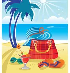 Summer objects on beach vector