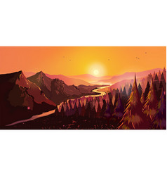 Sunrise in beautiful mountains with river and vector